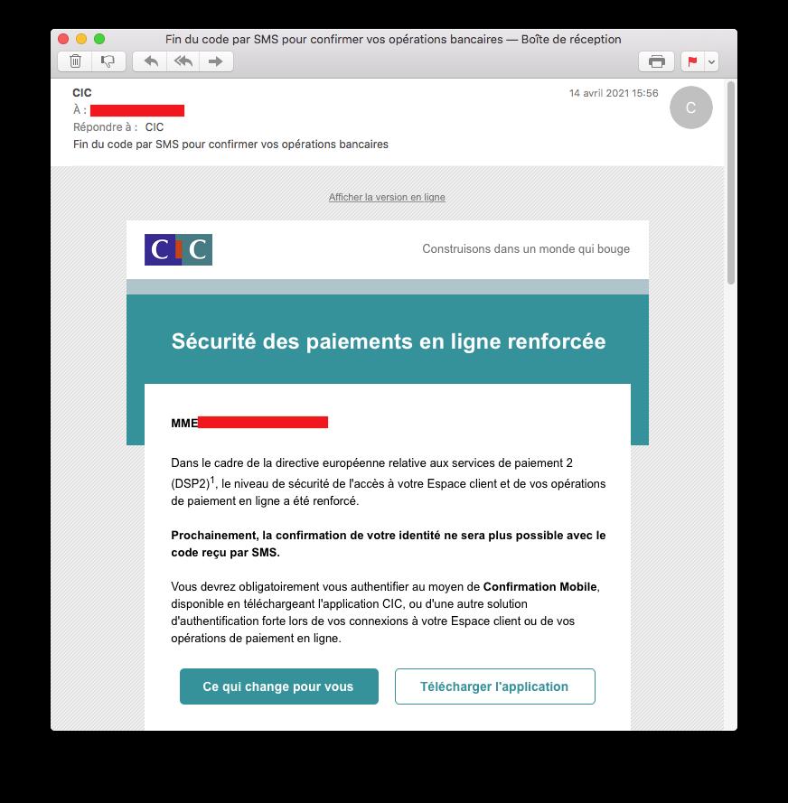 Mail pour installer une application bancaire.