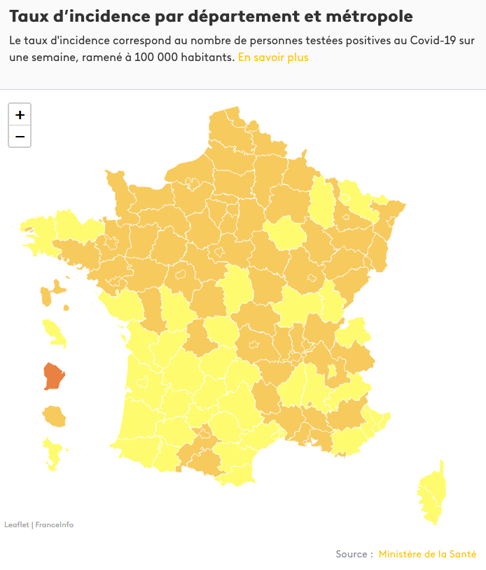 Carte du taux d'incidence réalisée par France Info.