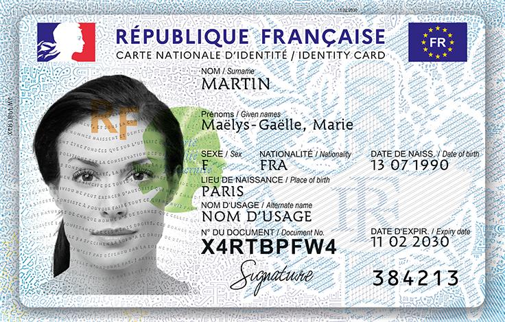 Le recto de la nouvelle carte d'identité française