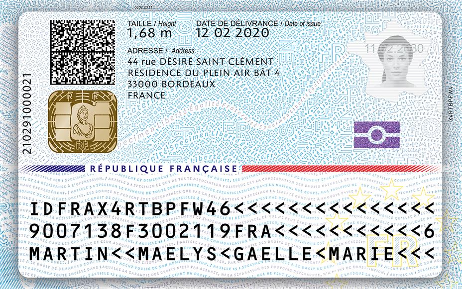 Le verso de la nouvelle carte d'identité française