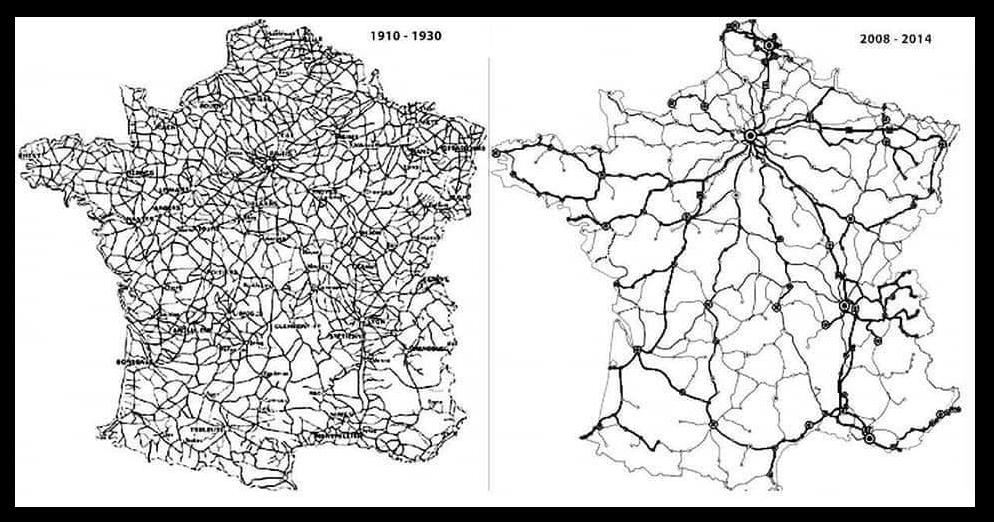 Il y a moins de train aujourd'hui qu'il y a 50 ans.